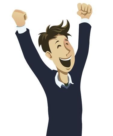 human arms: Happy guy cheering