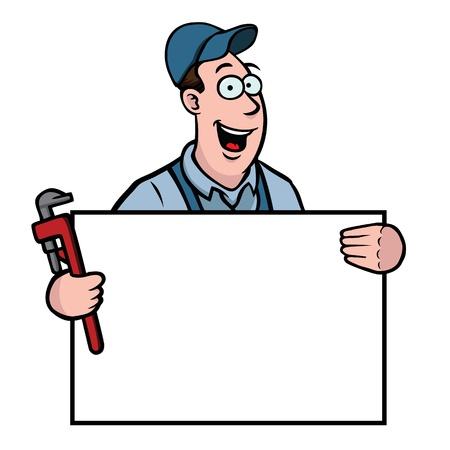 loodgieterswerk: Loodgieter met teken Stock Illustratie