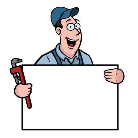 Plumber with sign Stock Vector - 12629959