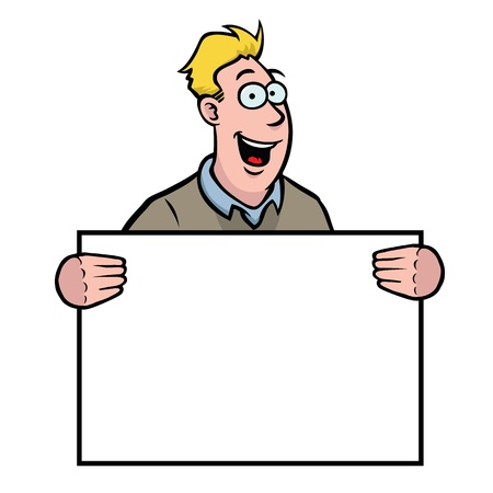 Man holding a sign Vector