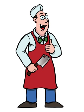 aprons: Butcher with a cleaver and his thumbs up Illustration