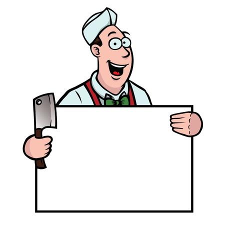 Butcher mit einem Beil und Schild Illustration