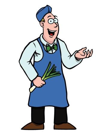 Greengrocer mit Lauch zeigt etwas
