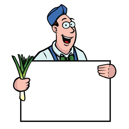 greengrocer: Fruter�a con puerro y el signo