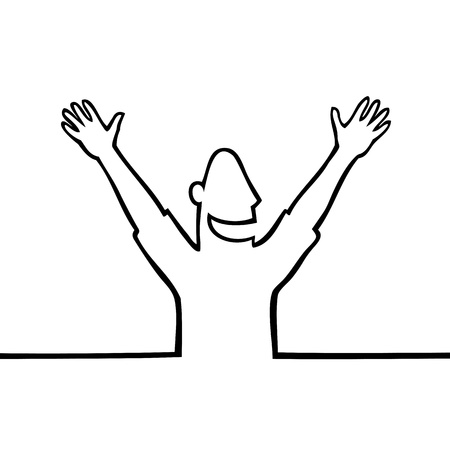 unrecognizable person: Happy man with hands in the air