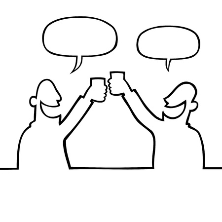 Two people toasting with drinks Illustration