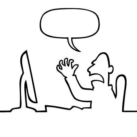 Angry man shouting at his computer