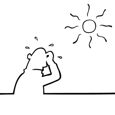 hot temperature: Sweating man in hot weather Illustration
