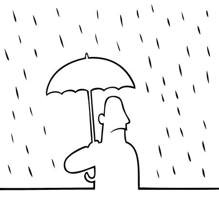 비에 우산을 가진 남자 일러스트