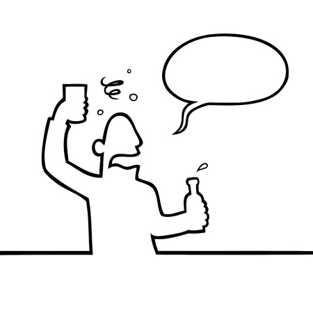 ebrio: Hombre borracho con bebida alcoh�lica