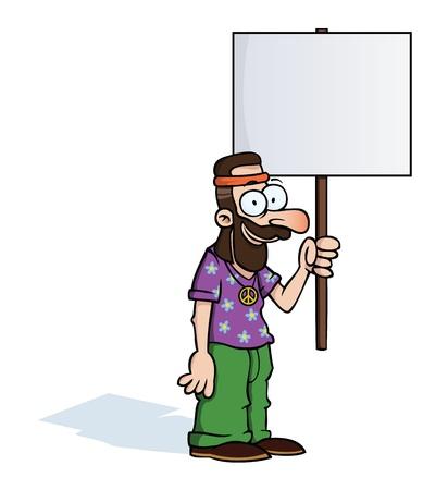 mann mit langen haaren: Happy Hippie mit Protestschild Illustration