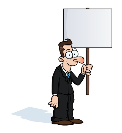 Happy business man with protest sign Vector
