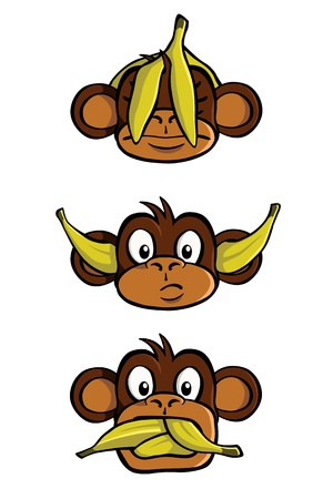 principle: Three wise monkeys Illustration