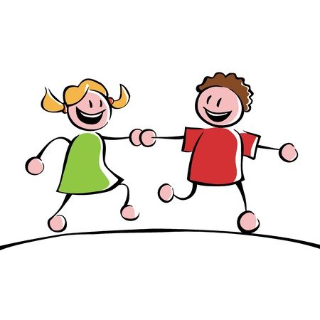 teenagers laughing: Two kids holding hands