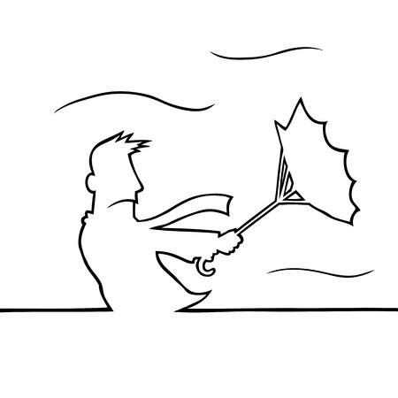 perişan: Fırtına şemsiye ile adam Çizim