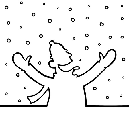 Man playing with snowflakes Stock Vector - 15092958