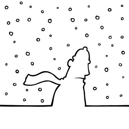 perişan: Karlı havalarda yürürken adam Çizim