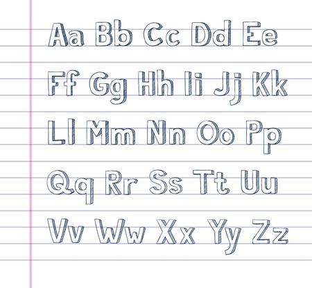 lineas rectas: Alfabeto Dibujado a mano sobre papel rayado