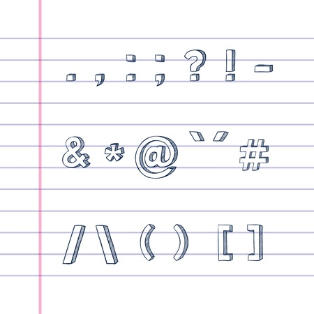 and comma: Several hand drawn text symbols on lined paper