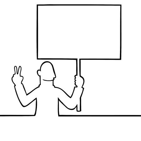 Man h�lt einen Frieden Protestschild Illustration