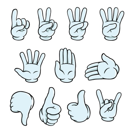 pointing finger pointing: Cartoon hands set Illustration