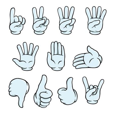 Conjunto de manos de dibujos animados Ilustración de vector