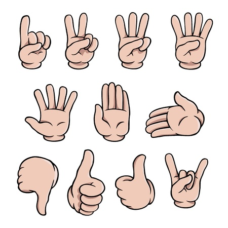two thumbs up: Cartoon hands set Illustration