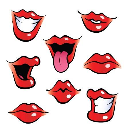 광택 입술 만화 여성의 입