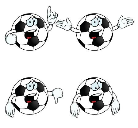 Crying cartoon football set Vector