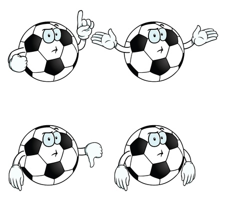 Thinking cartoon football set Stock Vector - 17156119