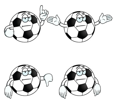 uninterested: Bored cartoon football set Illustration