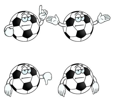 uncaring: Bored cartoon football set Illustration