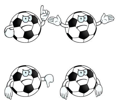Angry cartoon football set Vector