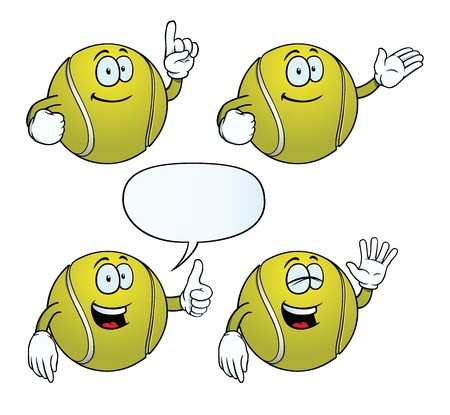 hand showing thumbs up: Smiling tennis ball set Illustration