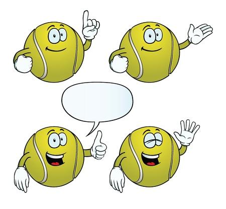 Smiling tennis ball set Illustration