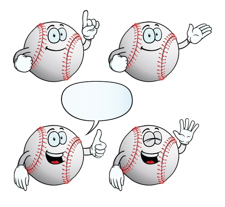 Smiling baseball set Vector