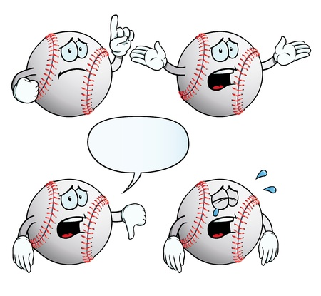 baseball cartoon: Crying baseball set Illustration