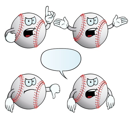 Angry baseball set Vector