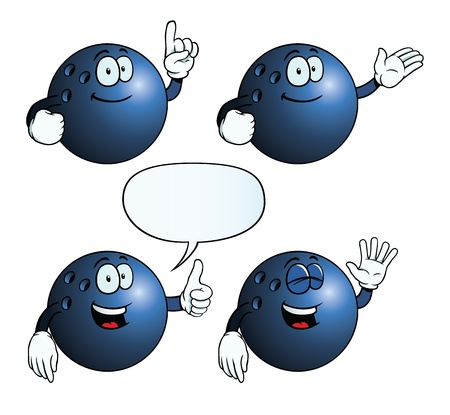 Collection of smiling bowling balls with various gestures.