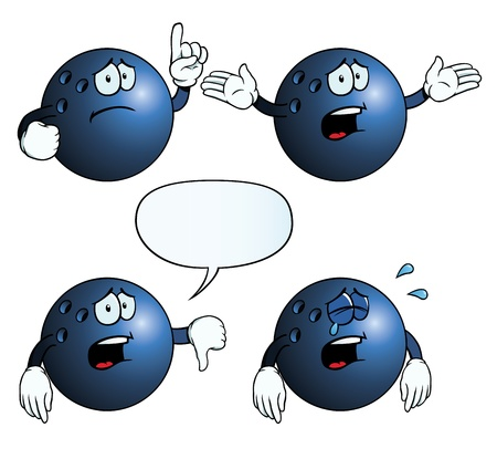 moody: Collection of crying bowling balls with various gestures.