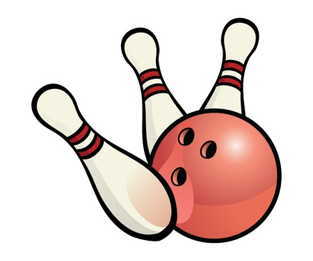 ten pin bowling: Bowling ball with pins