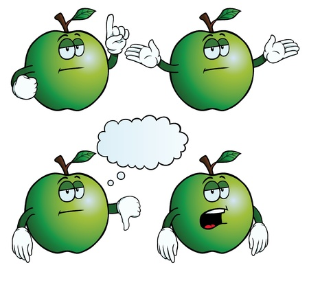 ignorancia: Bored conjunto manzana Vectores