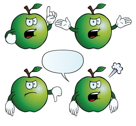 Angry apple set Vector