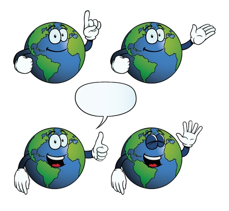 hand showing thumbs up: Smiling Earth globe set