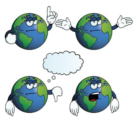 uncaring: Bored Earth globe set Illustration