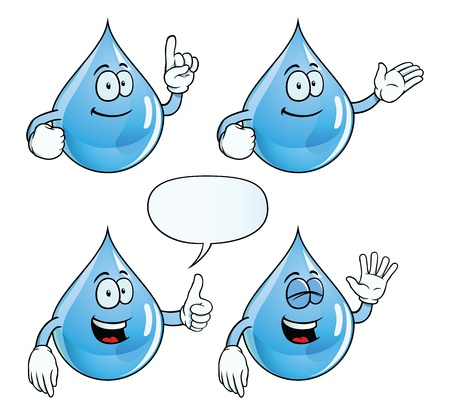 hand showing thumbs up: Smiling water drop set
