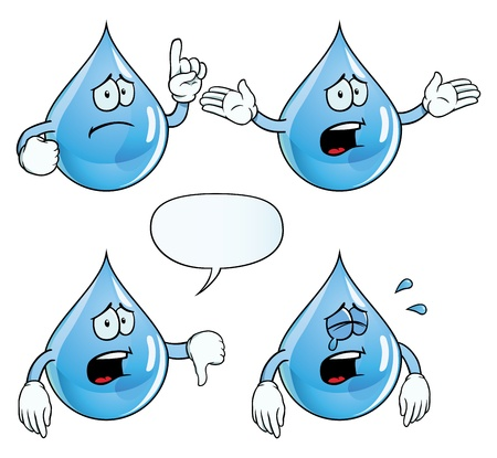 thumbs down: Crying water drop set Illustration