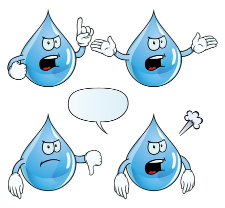 Angry water drop set Vector