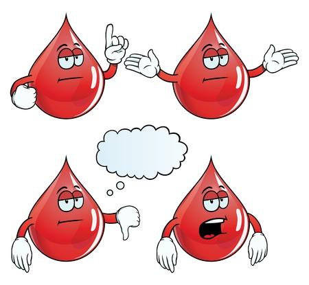uncaring: Bored blood drop set Illustration