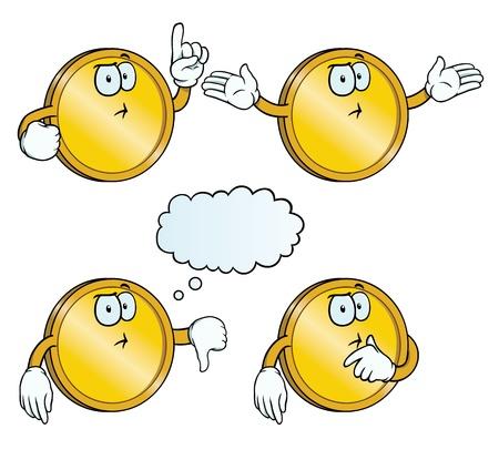 Thinking golden coin set Illustration